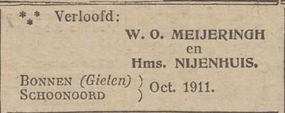 Nijenhuis en Meijeringh, 10-1911, verloofd