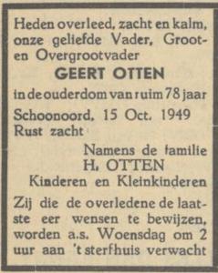 Geert Ottens, 15-10-1949, overlijdensadvertentie