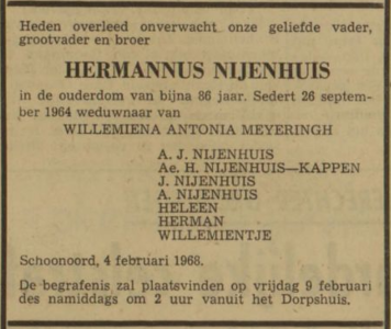 Hermannus Nijenhuis, 4-2-1968, overlijdensadvertentie