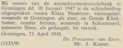 Niemeijer en Klinkhamer, 10-1-1947, echtscheiding
