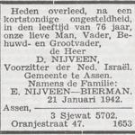 Daniel Nijveen, 21-1-1942, overlijdensadvertentie