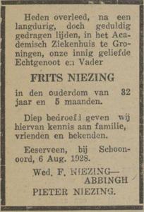 Frits Niezing, 6-8-1928, overlijdensadvertentie
