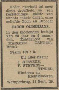 Jacob Oldenjans, 11-9-1929, overlijdensadvertentie