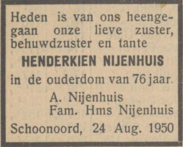Henderkien Nijenhuis, 24-8-1950, overlijdensadvertentie