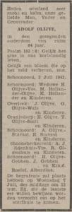 Adolf Olijve, 3-7-1943, overlijdensadvertentie