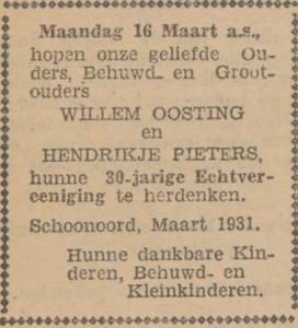 Oosting en Pieters, 16-3-1931, 30 jarig huwelijk
