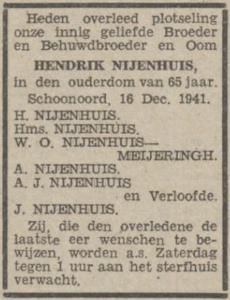 Hendrik Nijenhuis, 16-12-1941, overlijdensadvertentie