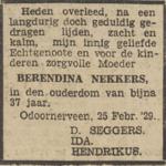 Berendina Nekkers, 25-2-1929, overlijdensadvertentie
