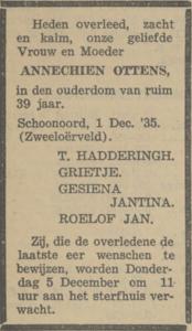 Annechien Ottens, 1-12-1935, overlijdensadvertentie