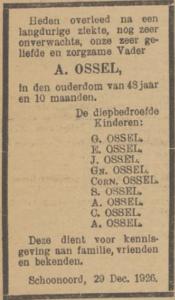 Arend Ossel, 29-12-1926, overlijdensadvertentie