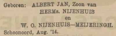 Albert Jan Nijenhuis, 8-8-1914, geboorteadvertentie