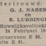 Naber en Lubbinge, 24-2-1944, ondertrouwd