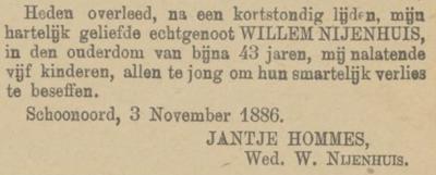 Willem Nijenhuis, 3-11-1886, overlijdensadvertentie