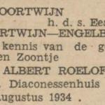Albert Roelof Oortwijn, 22-8-1934, geboorteadvertentie