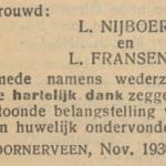 Nijboer en Fransens, 13-11-1930, huwelijksadvertentie