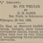 Weijler en Sasse, 20-10-1923, huwelijksadvertentie