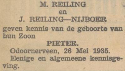 Pieter Reiling, 26-5-1935, geboorteadvertentie