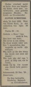 Jantje Schippers, 28-12-1938, overlijdensadvertentie