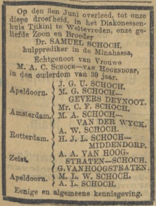 Samuel Schoch, 3-6-1912, overlijdensadvertentie