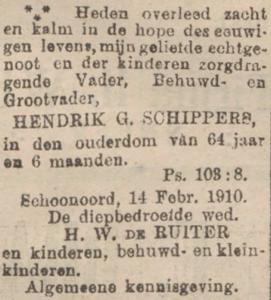 Hendrik Geerts Schippers, 14-2-1910, overlijdensadvertentie