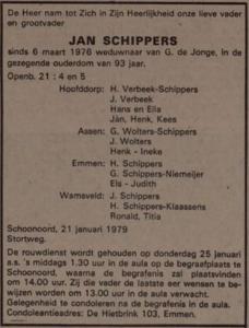 Jan Schippers, 21-1-1979, overlijdensadvertentie