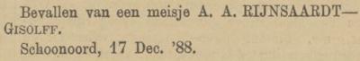Emilia Rijnsaardt, 17-12-1888, geboorteadvertentie