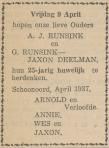 Runsink en Jaxon Deelman, 9-4-1937, 25 jarig huwelijk