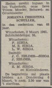 Johanna Christina Schuller, 2-3-1941, overlijdensadvertentie