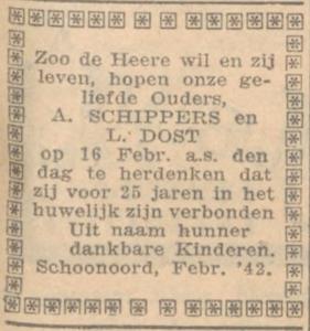 Schippers en Dost, 16-2-1943, 25 jarig huwelijk