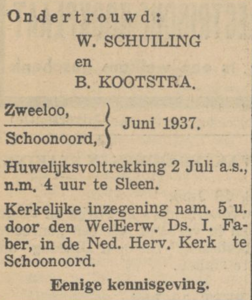 Schuiling en Kootstra, 6-1937, ondertrouwd