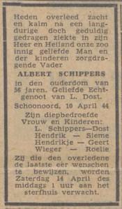 Albert Schippers, 10-4-1944, overlijdensadverentie