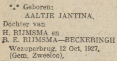 Aaltje Jantina Rijmsma, 12-10-1927, geboorteadvertentie