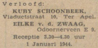 Schoonbeek en van der Zwaag, 1-1-1944, verloofd