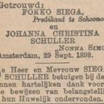 Siega en Schuller, 29-9-1898, huwelijksadvertentie