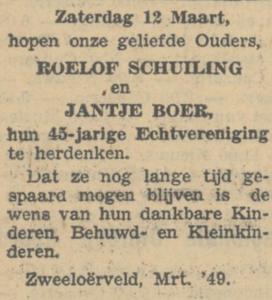 Schuiling en Boer, 12-3-1904, 45 jarig huwelijk