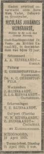 Nicolaas Johannes Rijnsaardt, 18-4-1925, overlijdensadvertentie