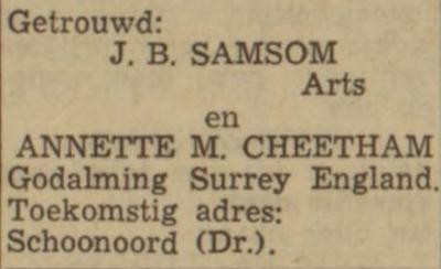 Samsom en Cheetham, 5-1968, huwelijksadvertentie