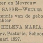 Helena Maria Sasse, 3-1-1927, geboorteadvertentie