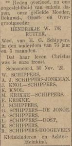 Hendrikje Wiegers de Ruiter, 30-11-1925, overlijdensadvertentie