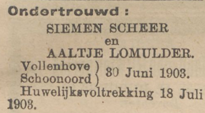 Scheer en Lomulder, 30-6-1903, ondertrouwd