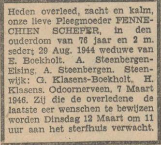 Fennechien Scheper, 7-3-1946, overlijdensadvertentie