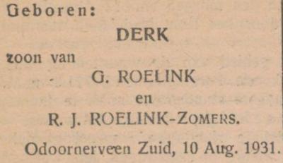 Derk Roelink, 10-8-1931, geboorteadvertentie