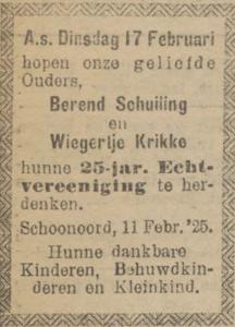 Schuiling en Krikke, 17-2-1925, 25 jarig huwelijk