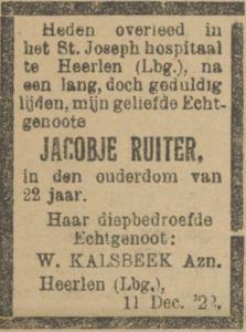Jacobje Ruiter, 11-2-1922, overlijdensadvertentie