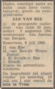 Jan van Ree, 6-7-1965, overlijdensadvertentie