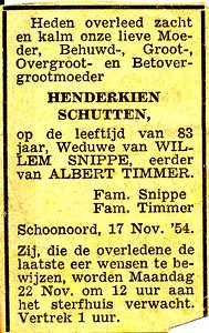 Henderkien Schutten, 17-11-1954, overlijdensadvertentie