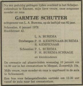 Garmtje Schutter, 6-1-1979, overlijdensadvertentie
