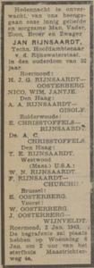 Jan Rijnsaardt, 2-1-1943, overlijdensadvertentie