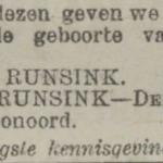 Geert Jaxon Albertus Runsink, 13-3-1922, geboorteadvertentie