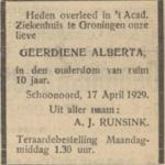 Geerdiene Alberta Runsink, 17-4-1929, overlijdensadvertentie